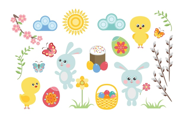 Zestaw wielkanocny z zajączkiem, kurczakiem, jajkami i kwiatami.