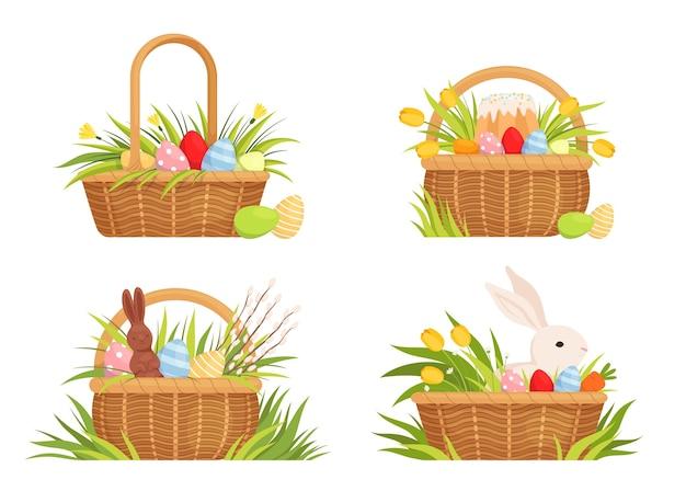 Zestaw wielkanocnych koszy na święta. kosze z kolorowymi jajkami, tulipanami, ciastem wielkanocnym i królikiem. zestaw do projektowania wiosennego. na białym tle.