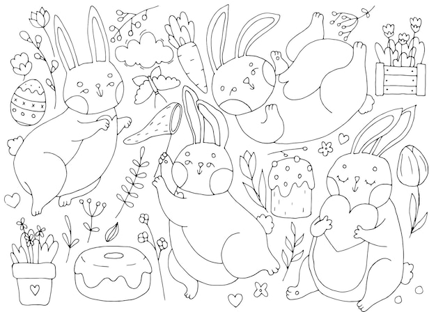 Zestaw wielkanocnych słodkie króliczki, jajka, rośliny, zestaw wiosenny, liniowa ilustracja doodle