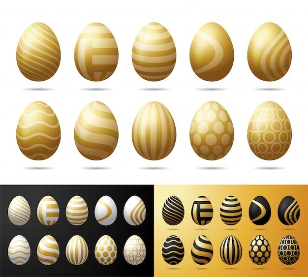 Zestaw wielkanocnych złotych jaj. realistyczne jaja z czarnym, białym i błyszczącym złotym ornamentem na białym tle