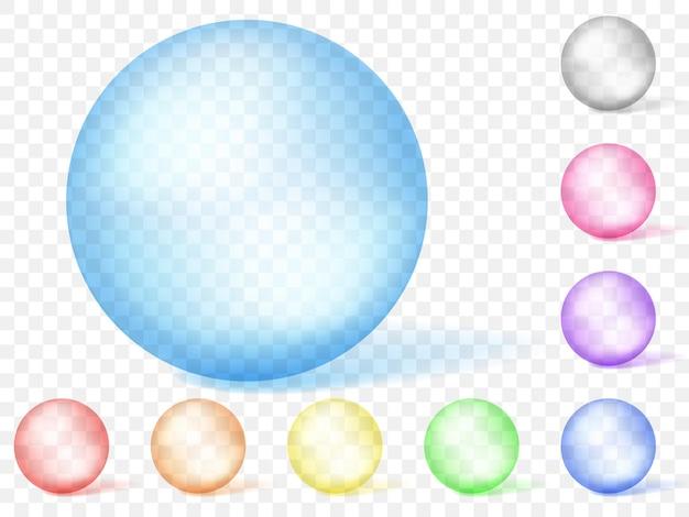 Zestaw wielobarwnych przezroczystych sfer. przezroczystość tylko w formacie wektorowym. może być używany z dowolnym tłem