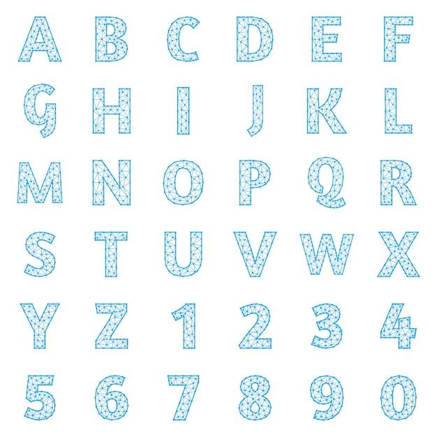 Zestaw wielokątnych liter i cyfr, wektor clipart.