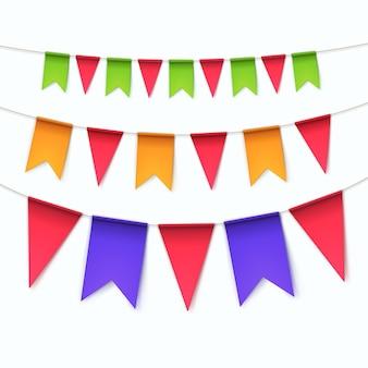 Zestaw wielokolorowe trznadel flagi girlandy