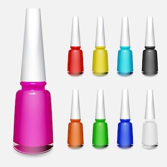 Zestaw wielokolorowych butelek lakieru do paznokci na białym tle