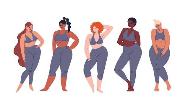 Zestaw wielokulturowych dziewczyn o różnych kolorach skóry. kolekcja młodych, różnorodnych kobiet stojących w rzędzie w modnych szarych dresach.