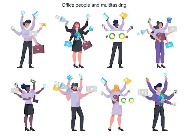 Zestaw wielozadaniowych ludzi biznesu z wieloma rękami. skuteczny i odnoszący sukcesy pracownik biurowy wykonujący wiele rzeczy naraz. koncepcja wielozadaniowości, produktywności i zarządzania czasem.