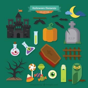 Zestaw wielu elementów dla projektu halloween na zielonym tle