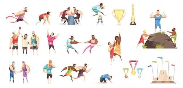 Zestaw wielu różnych ilustracji sportu