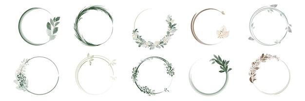 Zestaw wieńców z liści zieleni i ramki na bukiety z ręcznie malowanymi akwarelami.