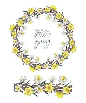 Zestaw wieniec kwiatowy z żółtym narcyzem i szkopułą oraz bez szwu szczotka pozioma z kwiatami na białym tle