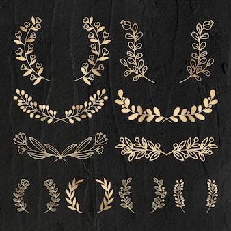 Zestaw wieniec wektor złoty kwiatowy luksusowy styl