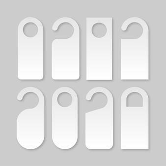 Zestaw wieszaków ostrzegawczych klamki drzwi biały pusty szablon znaków drzwi!