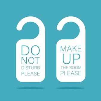 Zestaw wieszaków ostrzegawczych klamki drzwi nie przeszkadzać i uzupełnić pokój szablon znaków na drzwi