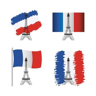 Zestaw wieży eiffla z flagą francji