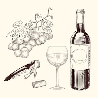 Zestaw wina. ręcznie rysowane kieliszek do wina, butelki, korek do wina, korkociąg i winogron.
