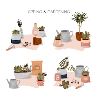 Zestaw wiosenno-ogrodniczy z domowymi kompozycjami ogrodowymi w płaskim stylu cartoon. śliczne doniczkowe rośliny domowe, narzędzia i elementy ogrodnicze.