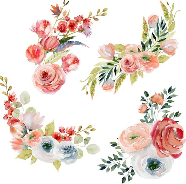 Zestaw wiosennych akwarelowych bukietów kwiatowych i kompozycji różowych i białych róż, polnych kwiatów, zielonych liści i gałęzi
