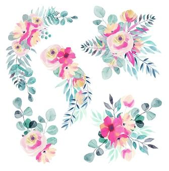 Zestaw wiosennych akwarelowych bukietów kwiatowych i kompozycji różowych kwiatów, polnych kwiatów, zielonych liści, gałęzi i eukaliptusa