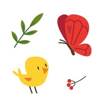 Zestaw wiosennych dekoracji z kurczaka motyla i jagód ilustracja wektorowa dzieci w kreskówce