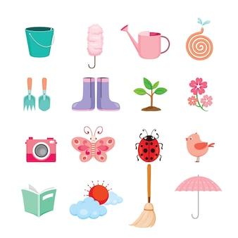 Zestaw wiosennych obiektów, narzędzia ogrodnicze, urządzenia do prac domowych