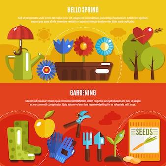 Zestaw wiosna banery