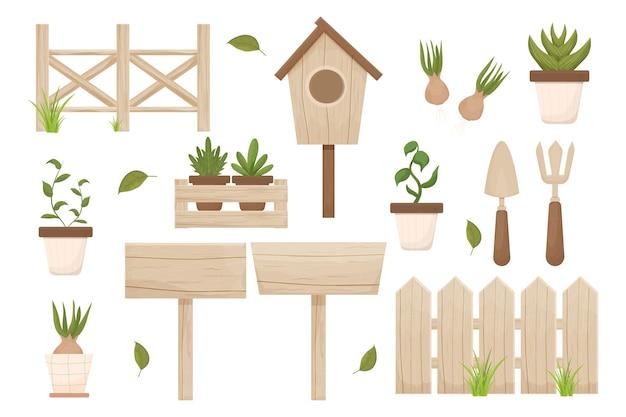 Zestaw wiosna ogrodnictwo drewniany płot birdhouse doniczka hiacynt i drewniane pudełko