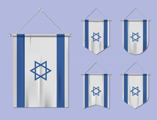 Zestaw wiszących flag izrael z tekstylną teksturą. różnorodność kształtów kraju bandery. proporczyk pionowy szablon