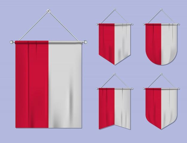 Zestaw wiszących flag polska z tekstylnymi teksturami. różnorodność kształtów kraju bandery. proporczyk pionowy szablon.