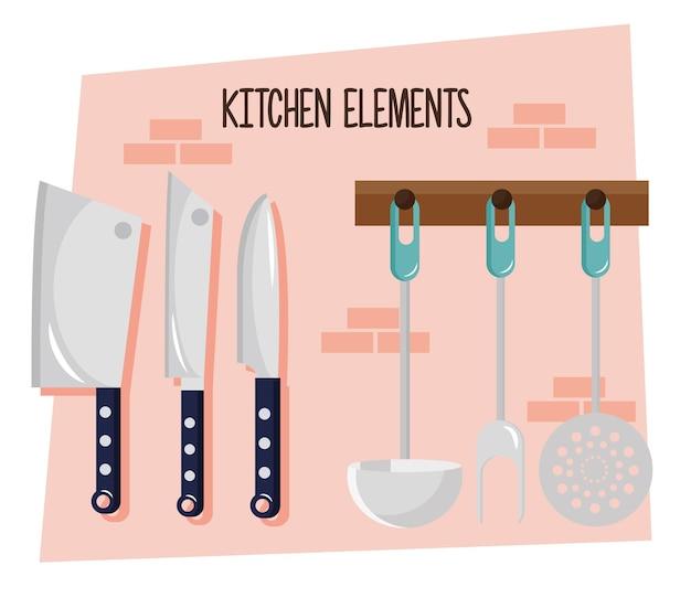 Zestaw wiszących sztućców kuchennych i napis projektowania ilustracji