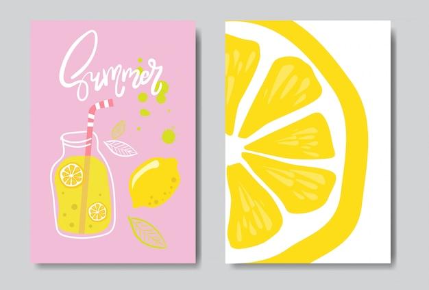 Zestaw witaj lato odznaka cytryny na białym tle typograficzne