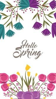 Zestaw witaj wiosna napis z rocznika romantyczne klatek kwiatowy świeże