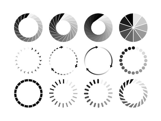 Zestaw witryny ładowanie czarna ikona na białym tle. pobierz lub prześlij ikonę stanu. ilustracja.