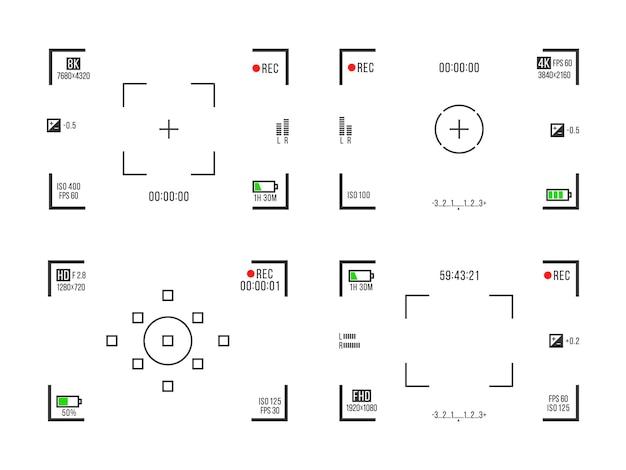 Zestaw wizjerów aparatu fotograficznego ekrany nagrywania wideo na przezroczystym tle