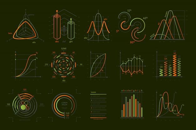 Zestaw wizualizacji danych abstrakcyjnych na czarnym tle