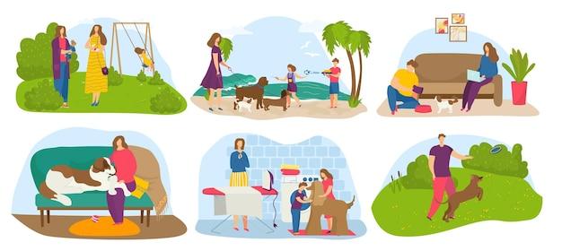 Zestaw właściciela psa, ilustracji wektorowych. kreskówka mężczyzna kobieta charakter spacer ze szczeniakiem zwierzaka w parku, rodzinne gry ze zwierzęciem domowym na plaży, kolekcja. dzieci dbają o przyjaciela, odpoczywają w domu.
