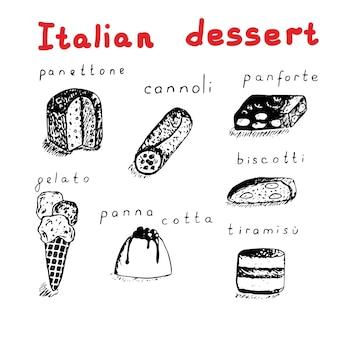 Zestaw włoskich deserów siedem elementów i tekst wektor ilustracja panettone cannoli panforte lody biscotti panna cotta tiramisu rysunek ręka