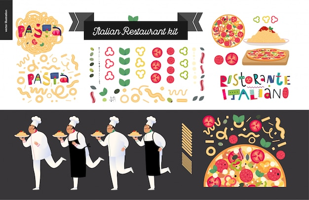Zestaw włoskiej restauracji z elementami, kucharze i kelnerzy trzymający danie z makaronu czerwony sos bolognese, włoskie elementy żywności i napis, postać z kreskówki
