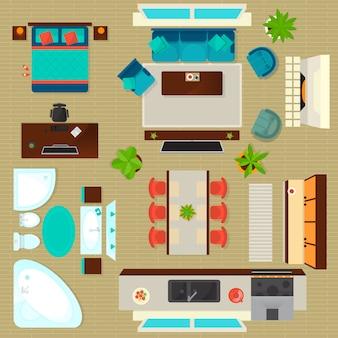 Zestaw wnętrz mieszkania widok z góry