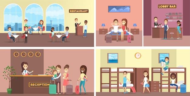 Zestaw wnętrz pokoi hotelowych. recepcja i restauracja, bar i pokój hostelowy. osoby z bagażem i personel hotelowy. ilustracja wektorowa płaski