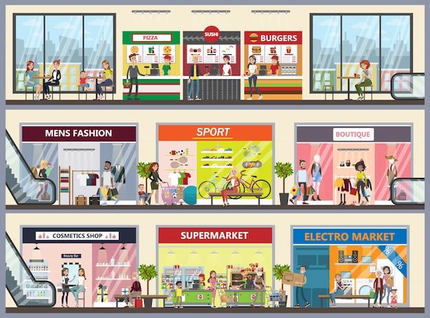 Zestaw wnętrza centrum handlowego. odzież dla każdego.