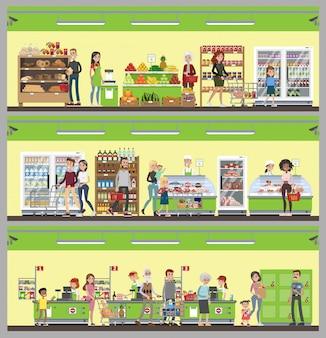 Zestaw wnętrza supermarketu. ludzie kupujący jedzenie i picie.