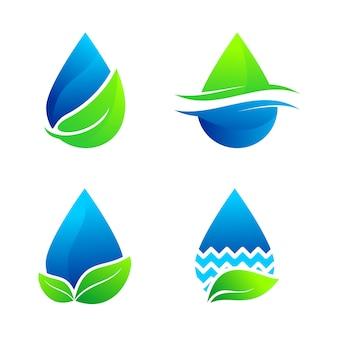 Zestaw woda natura logo wektor