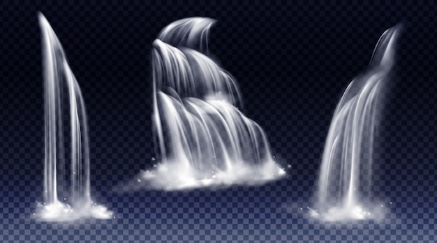 Zestaw wodospadów z kaskadą, zachlapaniem i mgłą