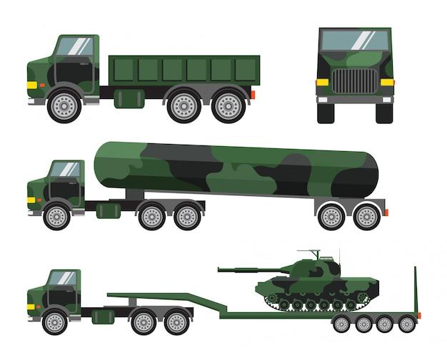 Zestaw wojskowej ciężarówki i armii czołgów