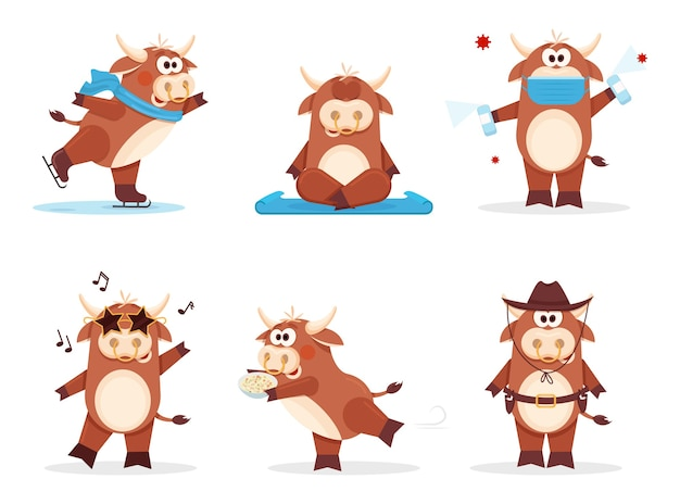 Zestaw wół szczęśliwego chińskiego nowego roku roku krowy