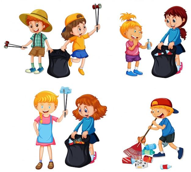 Zestaw wolontariuszy, którzy sprzątają