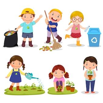 Zestaw wolontariuszy słodkie dzieci na białym tle