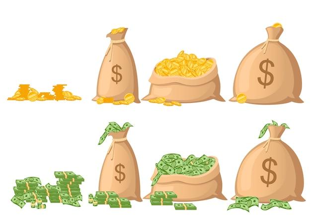 Zestaw worek pieniędzy. płócienny worek pełen papierowych dolarów i złotych monet. znak dolara amerykańskiego. ilustracja na białym tle