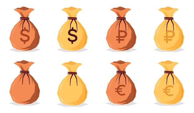 Zestaw worków pieniędzy