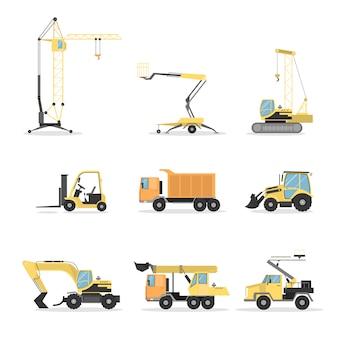 Zestaw wózków budowlanych. spychacz i dźwig, mikser i koparka na białym tle.